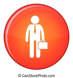 Businessman standing with his briefcase icon