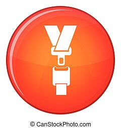 Safety belt icon, flat style - Safety belt icon in red...