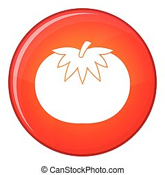 Tomato icon, flat style - Tomato icon in red circle isolated...