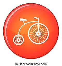 Penny-farthing icon, flat style - Penny-farthing icon in red...