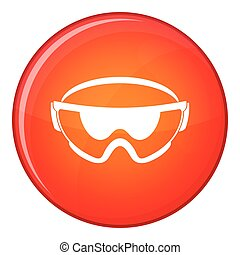 Safety glasses icon, flat style - Safety glasses icon in red...