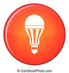 Led bulb icon, flat style - Led bulb icon in red circle...