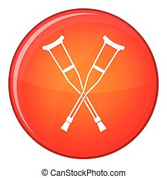 Crutches icon, flat style - Crutches icon in red circle...