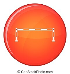 Traffic barrier icon, flat style - Barrier icon in red...