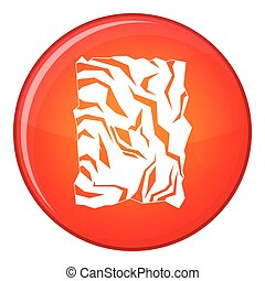 Crumpled paper icon, flat style - Crumpled paper icon in red...