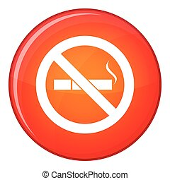 No smoking sign icon, flat style - No smoking sign icon in...