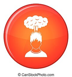 Man with red cloud over head icon, flat style - Man with red...