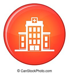 Hospital icon, flat style - Hospital icon in red circle...