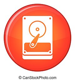 HDD icon, flat style - HDD icon in red circle isolated on...