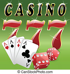 Casino - Illustration casino elements on a green background