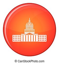 Capitol icon, flat style - Capitol icon in red circle...