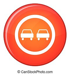No overtaking road traffic sign icon, flat style - No...