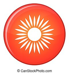 Sun icon, flat style - Sun icon in red circle isolated on...