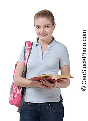 High school schoolgirl student with book and backpack