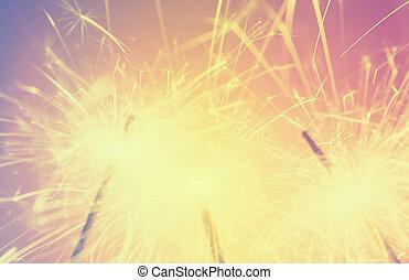 sparkler de focused blurred background retro effect image