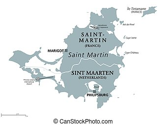 Saint Martin island political map