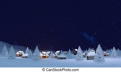Cozy winter township at snowfall night 4K - Calm rural...