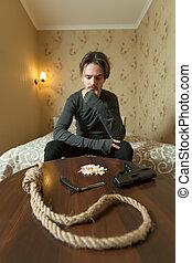 Desperate man choose commit suicide method. Suiside concept