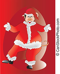 Pig cartoon in Santa Claus, step-in, vector illustration