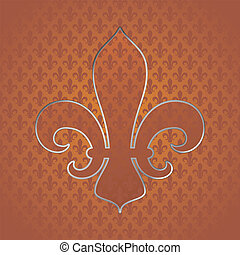 Fleur de lys symbol in seamless tileable background and...