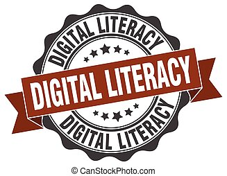 digital literacy stamp. sign. seal