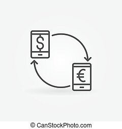 Smartphone currency converter icon. EUR to USD convert...