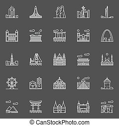 Landmark linear icons. Vector collection of world famous...