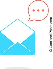 blue opened letter with red speech bubble. concept of sms,...