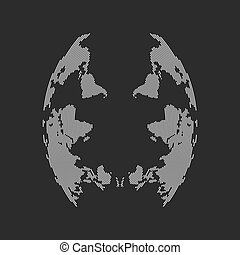 abstract face from inverted world map