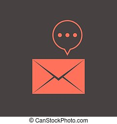 red closed letter with speech bubble. concept of sms, spam,...