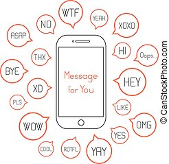 smartphone with different messages in speech bubbles....