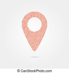 pin icon from red points with shadow. concept of...