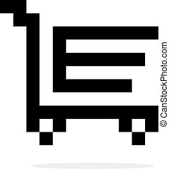 simple 8bit shopping trolley black icon. concept of merchant...