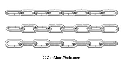 Collection of metal chains colored silver. Isolated on white...