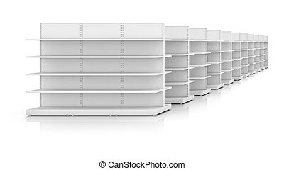 Racks with shelves isolated on white background. 3d...