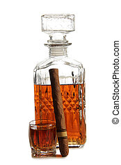 Decanter of whiskey and cigar