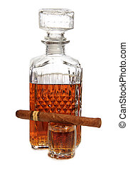 Whiskey and cigar - Decanter of whiskey and cigar on a white...