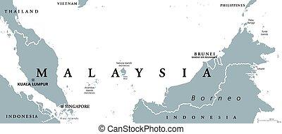Malaysia political map with capital Kuala Lumpur in Asia...