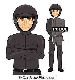mature serious police man riot officer