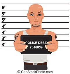 Latino gangster with tattoos holding mugshot - Latino...