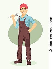 young plumber or mechanic man with wrench