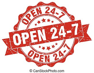 open 24 7 stamp. sign. seal