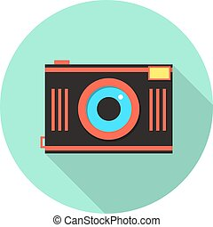 red and brown photo camera in green circle. concept of...