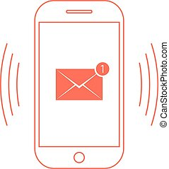 outline red smartphone with one email icon. concept of spam,...
