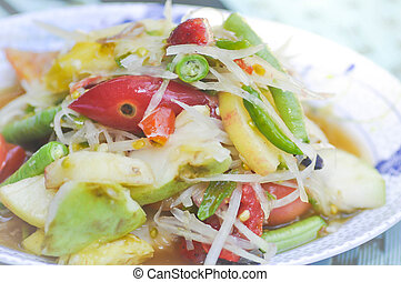 som tam , spicy salad dish or Thai food