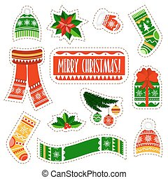 Christmas stickers set on white background. Winter kids stuff stickers set