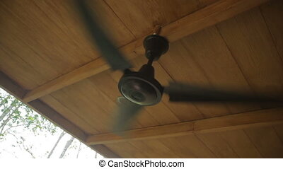 Ceiling fan in the house on a tropical island