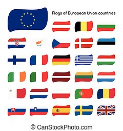 Set the flags of European Union countries, member states in...