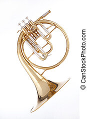 French Horn Isolated on White - A gold brass antique French...