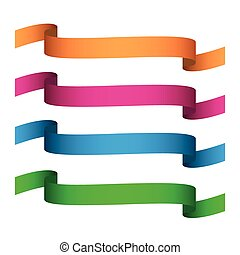 Set of colored vector ribbons isolated on white background